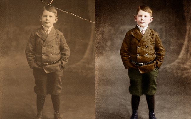 photo restoration of a cracked photo. Colorized as well.